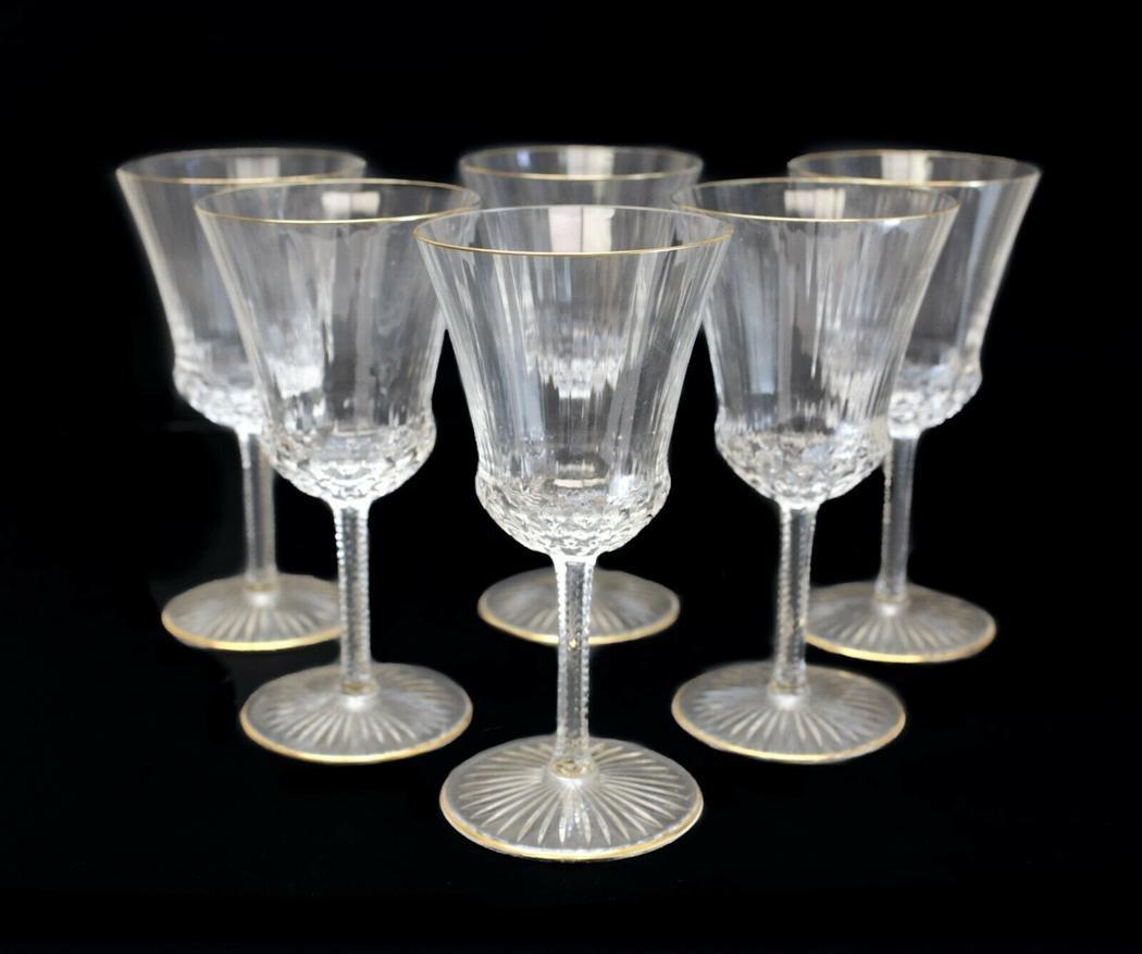 6 Saint Louis Glass Burgundy Wine Goblets Apollo Gold