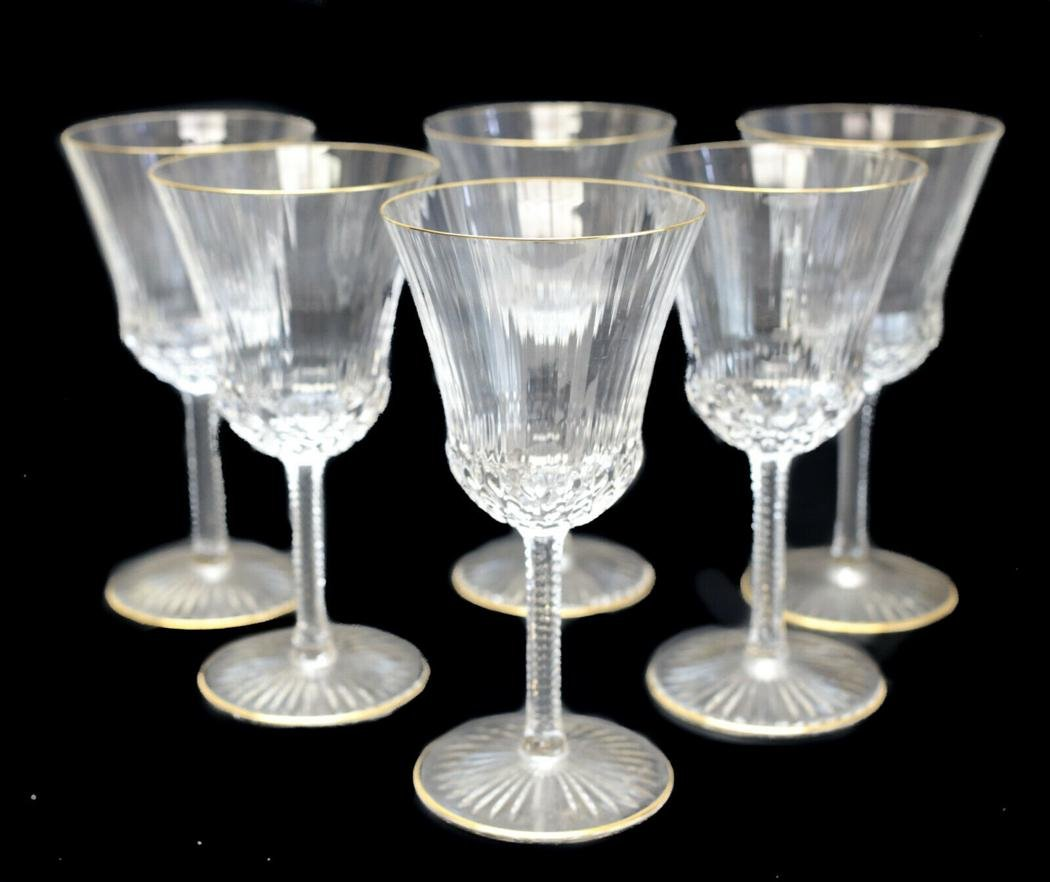 6 Saint Louis Glass Continental Goblets in Apollo Gold