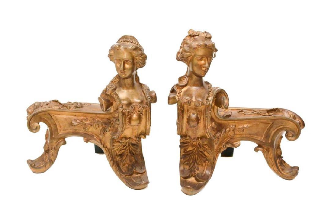 Pair of Continental Gilt Bronze Chenets Figural Women