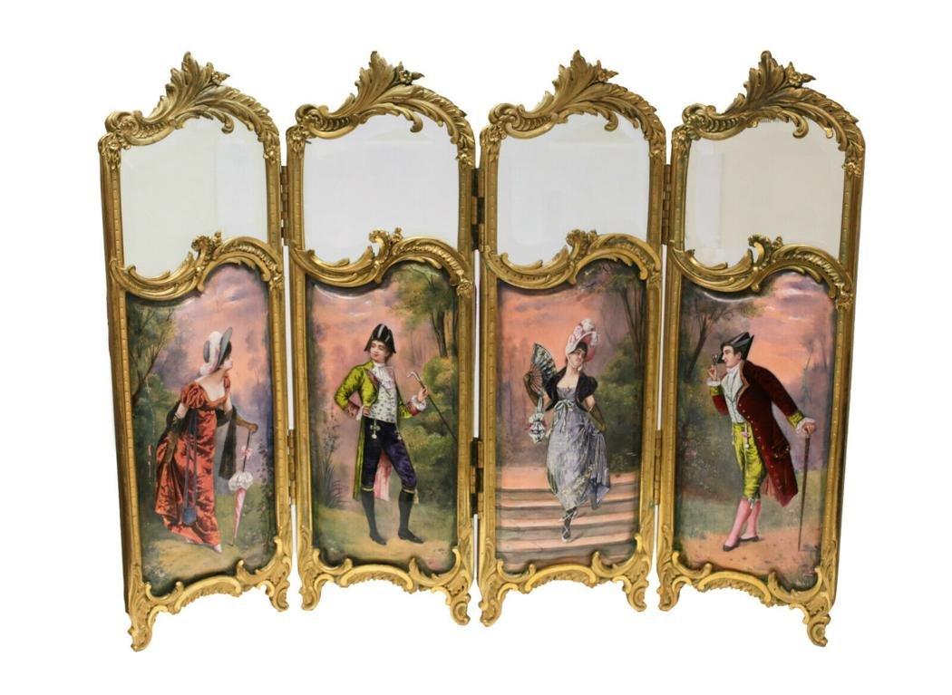 French Ormolu Enamel Panel Table Screen 19th C