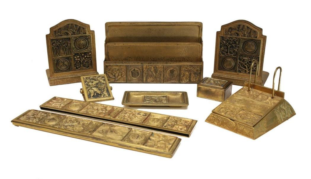 Tiffany Studios Gilt Bronze Desk Set in Bookmark