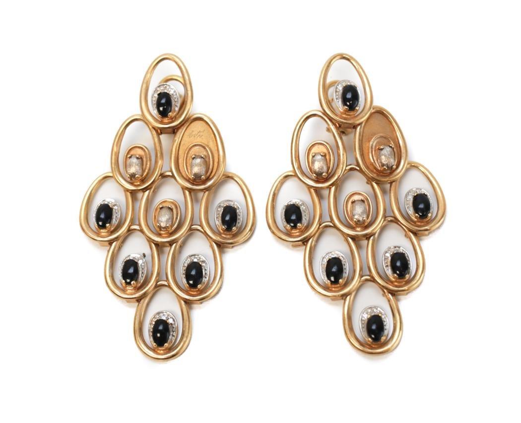 14K Gold Diamond and Onyx Stone Erte Earrings