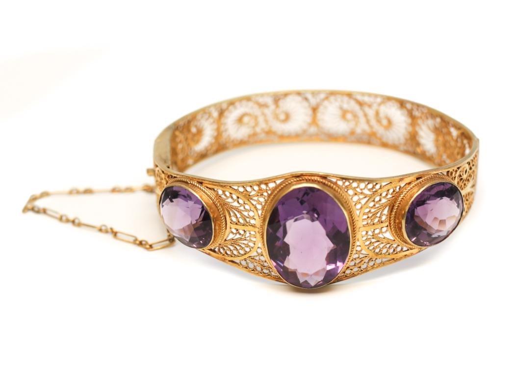 14k Gold and Amethyst Bangle Bracelet