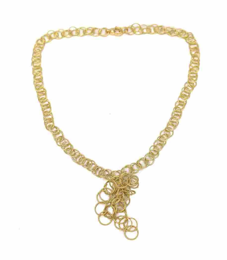 Mario Buccellati 18k Gold Modernist Ring Necklace