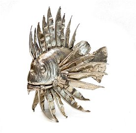 Large Lisi Brothers Sterling Silver Lion Fish Figure