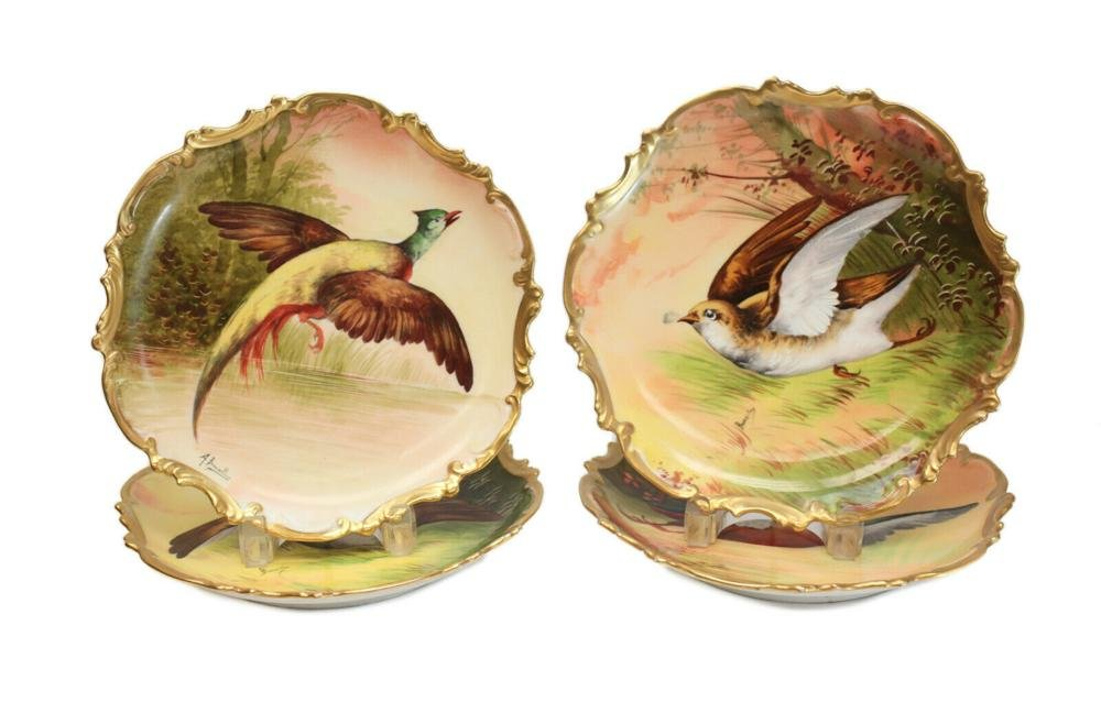 4 Limoges Coronet Hand Painted Cabinet Wall Plates