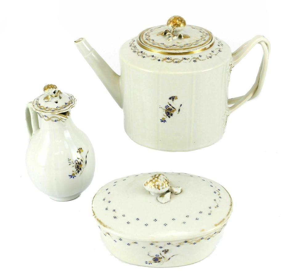 3 Chinese Export Porcelain Tea Set Service 19th Century