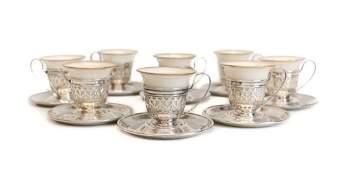 8 Gorham Sterling Silver Lenox Porcelain Cups  Saucers