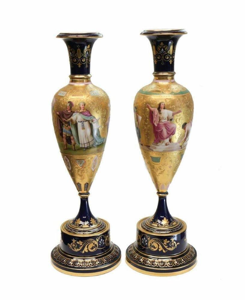 Pair Royal Vienna Porcelain Vases Vestal Virgins, 19thC