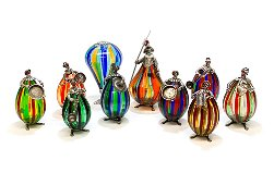 10 Italian silver, enamel and Murano Glass Figurines