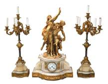 Large H Picard Gilt Bronze on Marble Base Mantel Clock