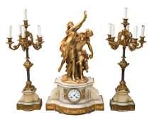 Large H. Picard Gilt Bronze on Marble Base Mantel Clock