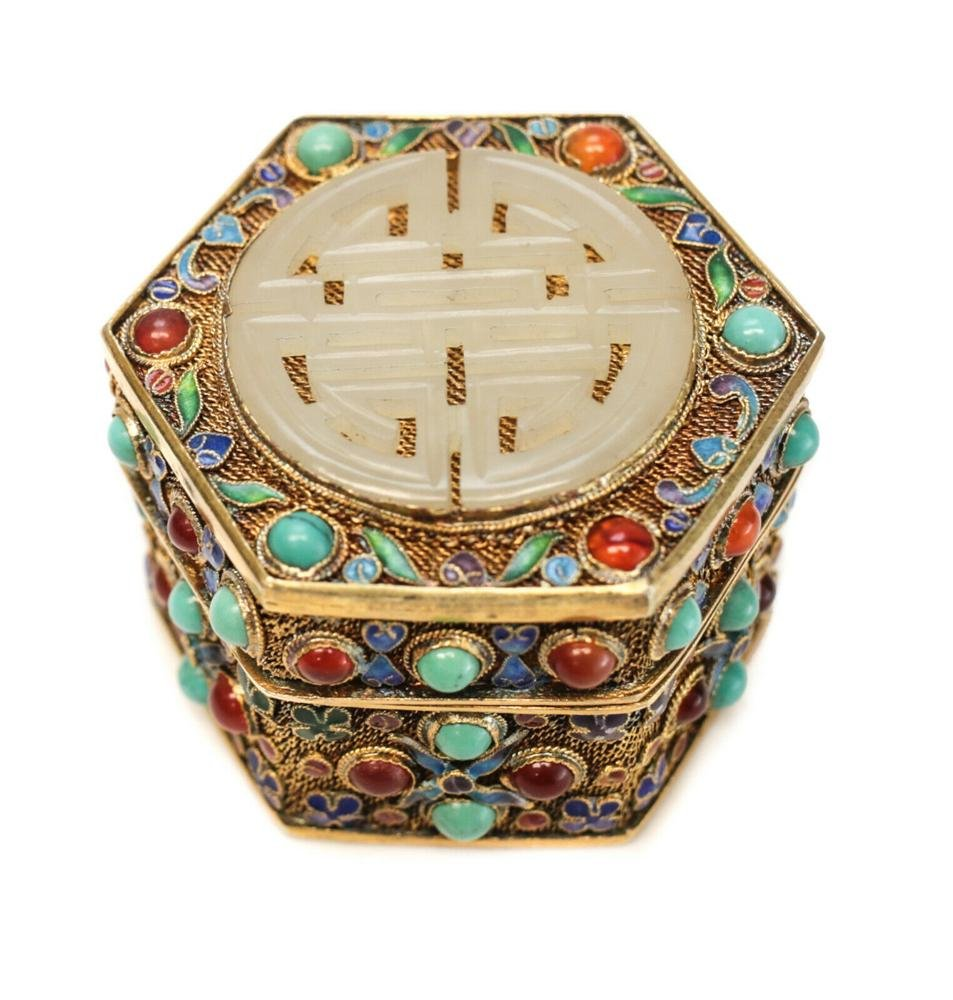 Chinese Gilt Silver Jade Mounted Jeweled Snuff Box