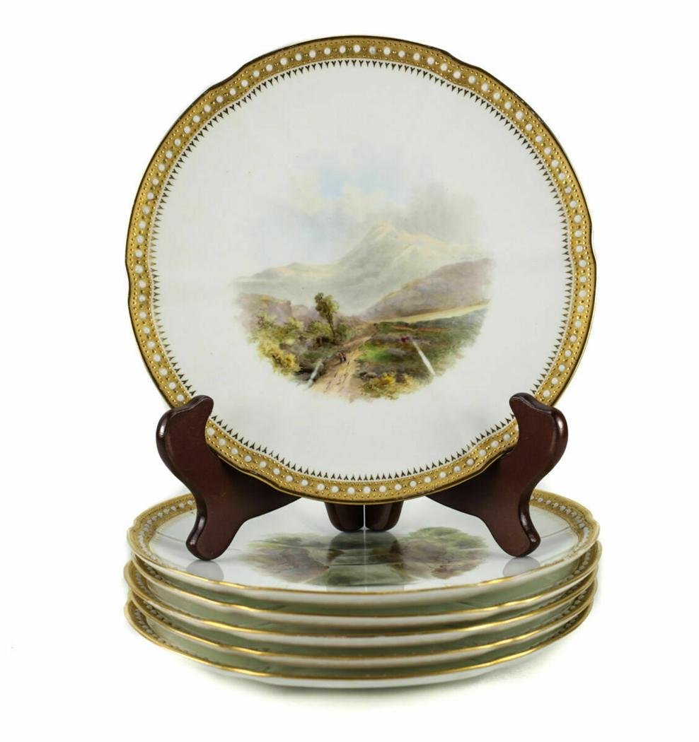 6 James Green & Nephew Scenic Cabinet Plates, 19th C