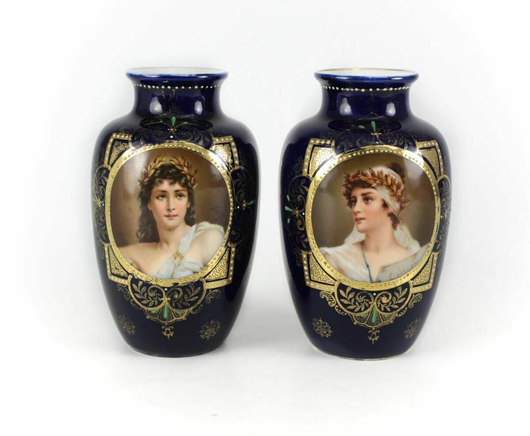 Royal Vienna Porcelain Cobalt Portrait Vases