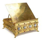Continental Gilt Bronze Jeweled Bible Book Stand Missal