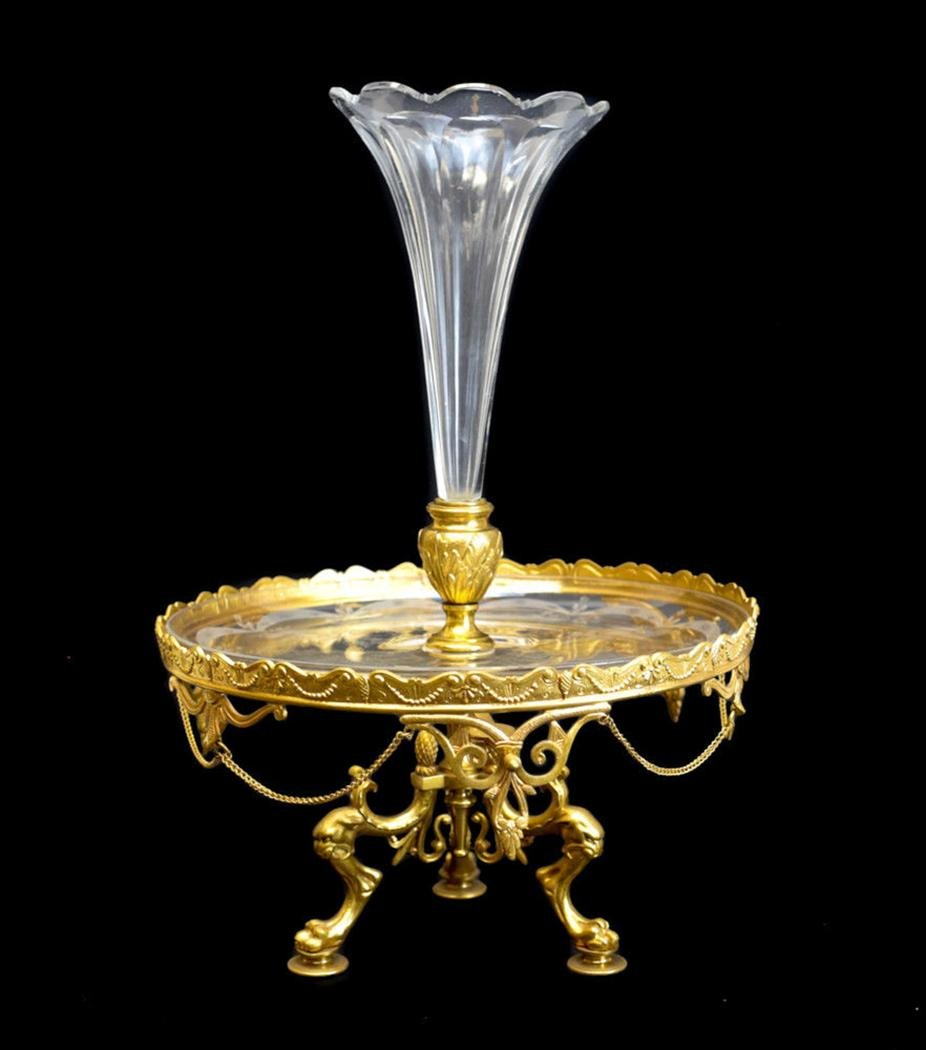 Gilt Bronze Ormulu Etched Glass Epergne Fluted Vase