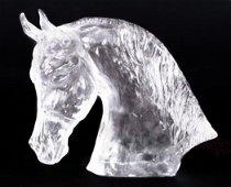 Baccarat Glass Horse Sculpture by Lesseps Tete De