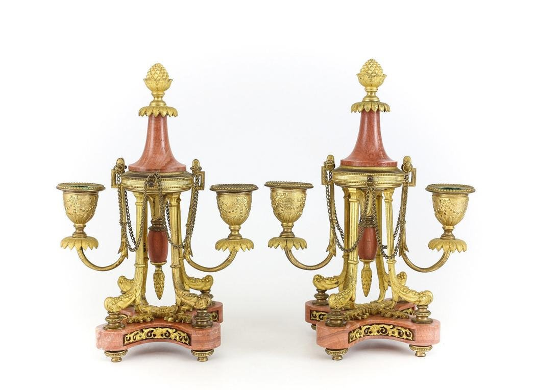 Pair French Gilt Bronze Pink Marble Footed Candelabras