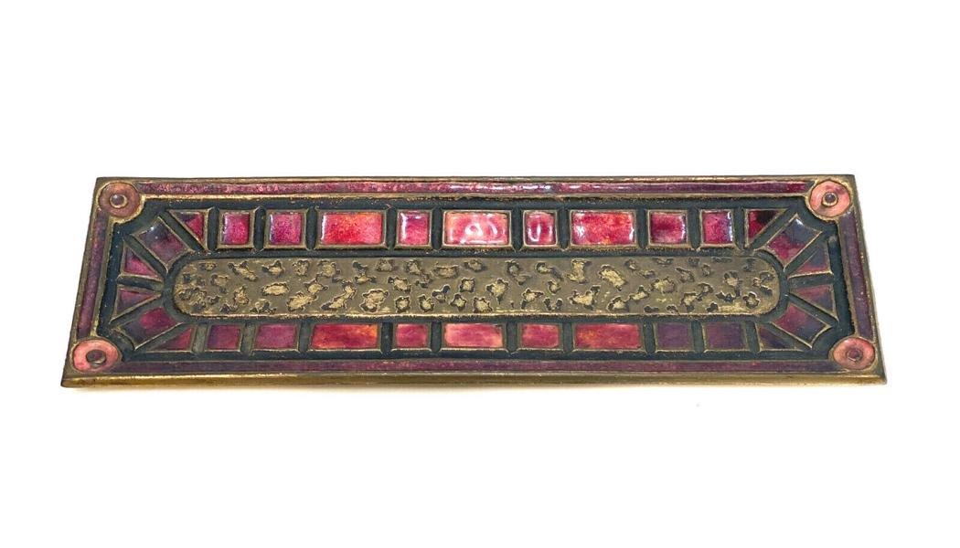 Louis C. Tiffany Furances Favrile Enamel Gilt Bronze