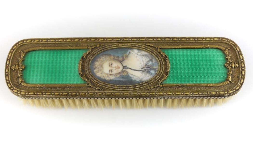 French Charles Mayer Co Portrait Bronze & Enamel Brush