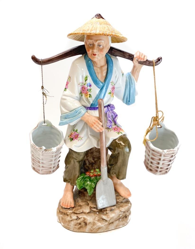 Hand Painted Porcelain Figure Female Gardener