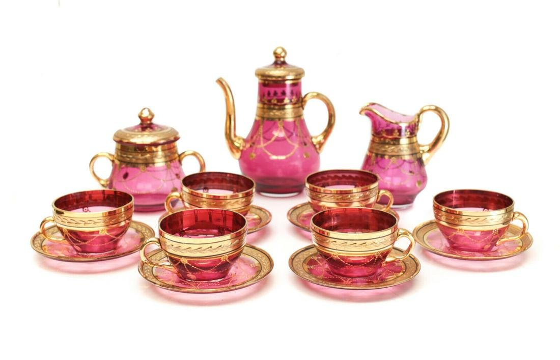 Bohemian Cranberry Red & Gilt Glass Tea Service for 6