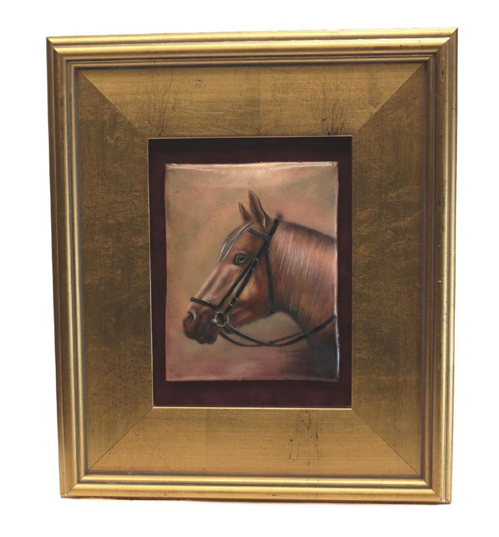 R. Bonhomme Limoges Enamel on Copper Horse Plaque
