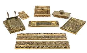 7 pc Tiffany Studios Gilt Bronze Desk Set in Venetian