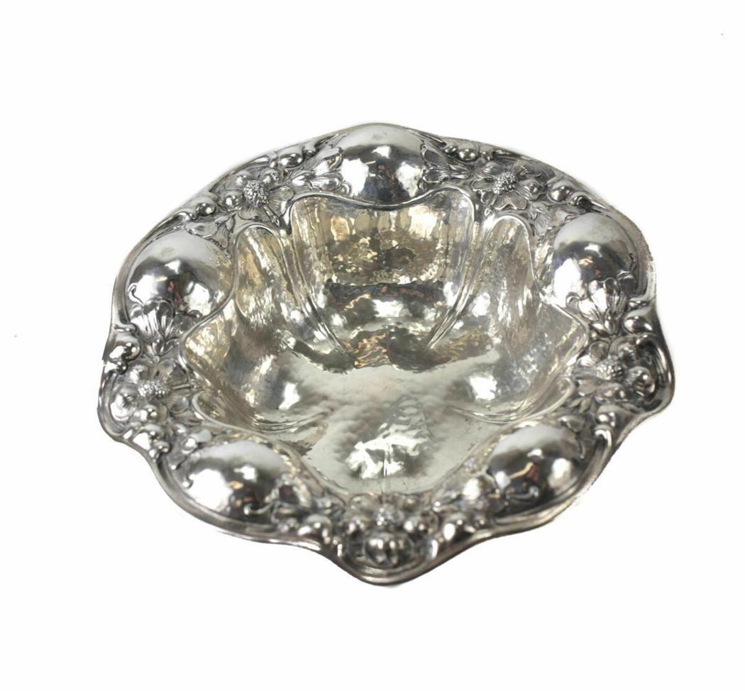 Gorham Sterling Silver Hand Hammered Nut Bowl, 1906