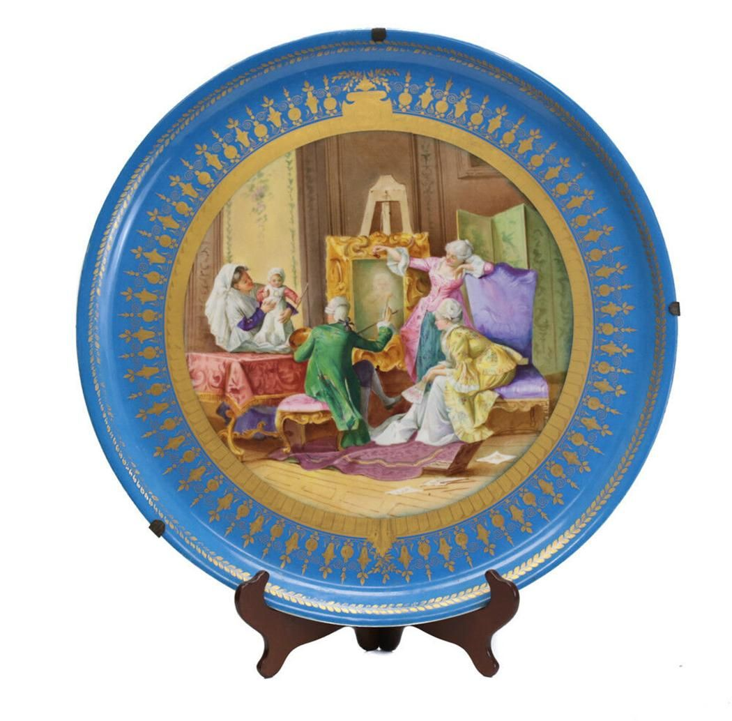 Sevres France Large Porcelain Wall Charger, Late 19th C