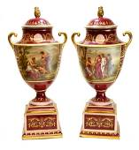 Pair Royal Vienna Double Handled Urns, circa 1900