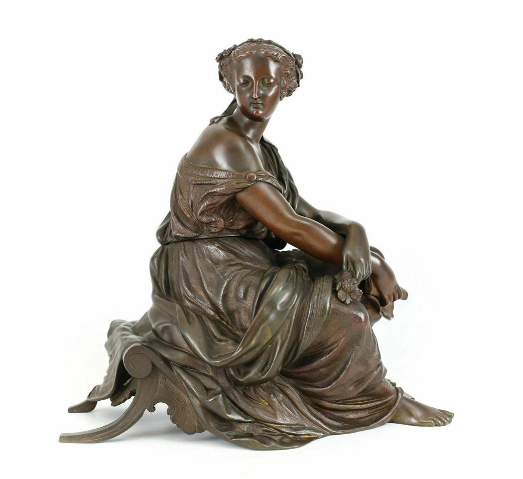 Duchoiselle Bronze French Sculpture Figure, 19th C.
