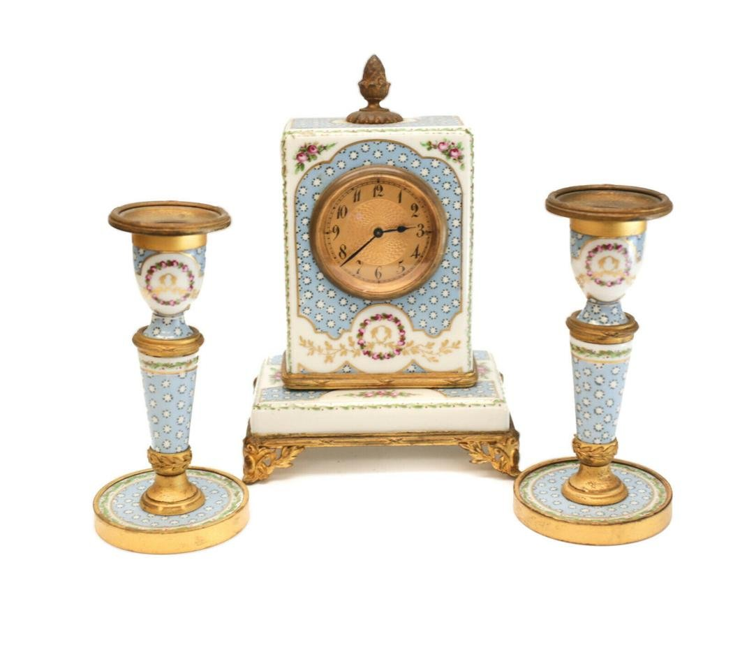 Sevres France Porcelain Clock Mantel Set, circa 1900