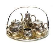 Christofle French Silver  Mixed Metal Tea Set