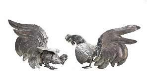Pair Peruvian Sterling Silver Fighting Cocks Figurines