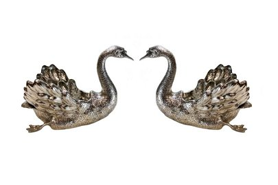 Pair Buccellati Sterling Silver Swan Bowls