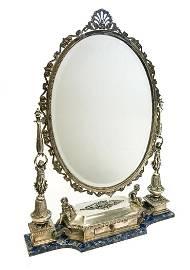 Buccellati Sterling Lapis Lazuli Vanity Mirror, c1960