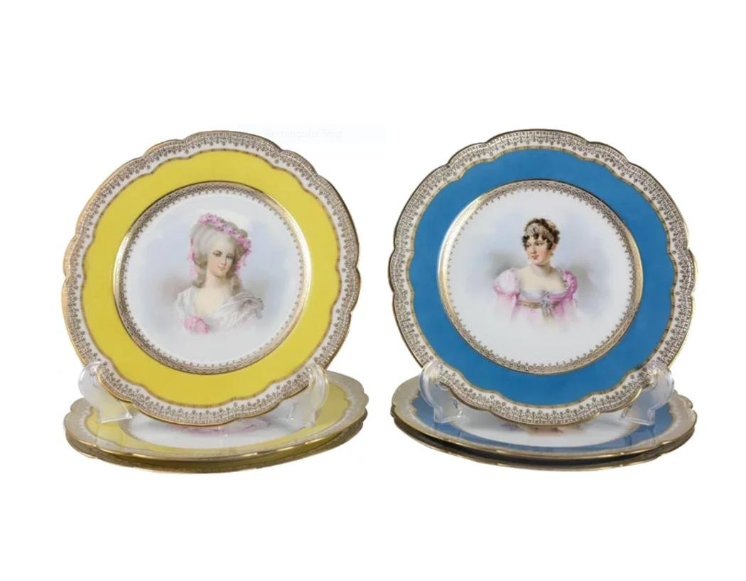 6 Sevres Hand Painted Portrait Plates, Signed