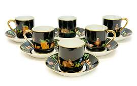 6 Tiffany Private Stock  Porcelain Cup Saucers Shoulder