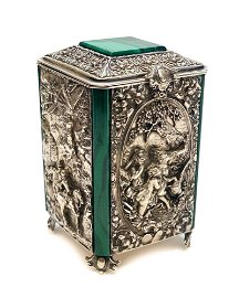 Outstanding Silver and Malachite Tea Caddy