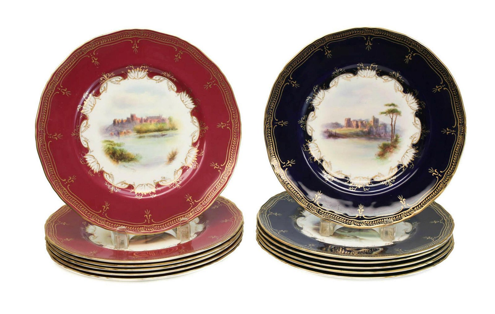 12 Royal Worcester Porcelain Dinner Plates, 1891