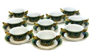 10 Rosenthal Versace Bouillon Bowls in Gold Ivy