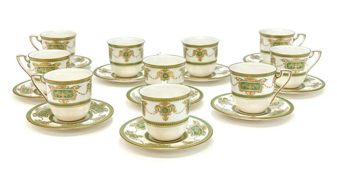 10 Royal Worcester Porcelain Cup & Saucers, 1925