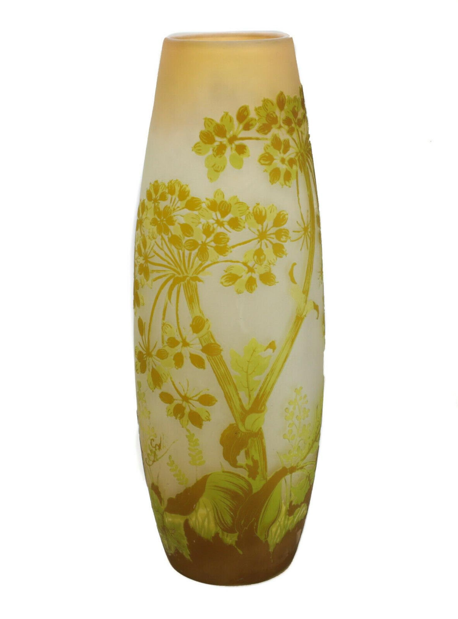 Galle Yellow Over Clear Art Glass Cameo Vase, 19th C