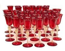 Venetian Red & Gold Fleck Art Glass 3pc Set for 10