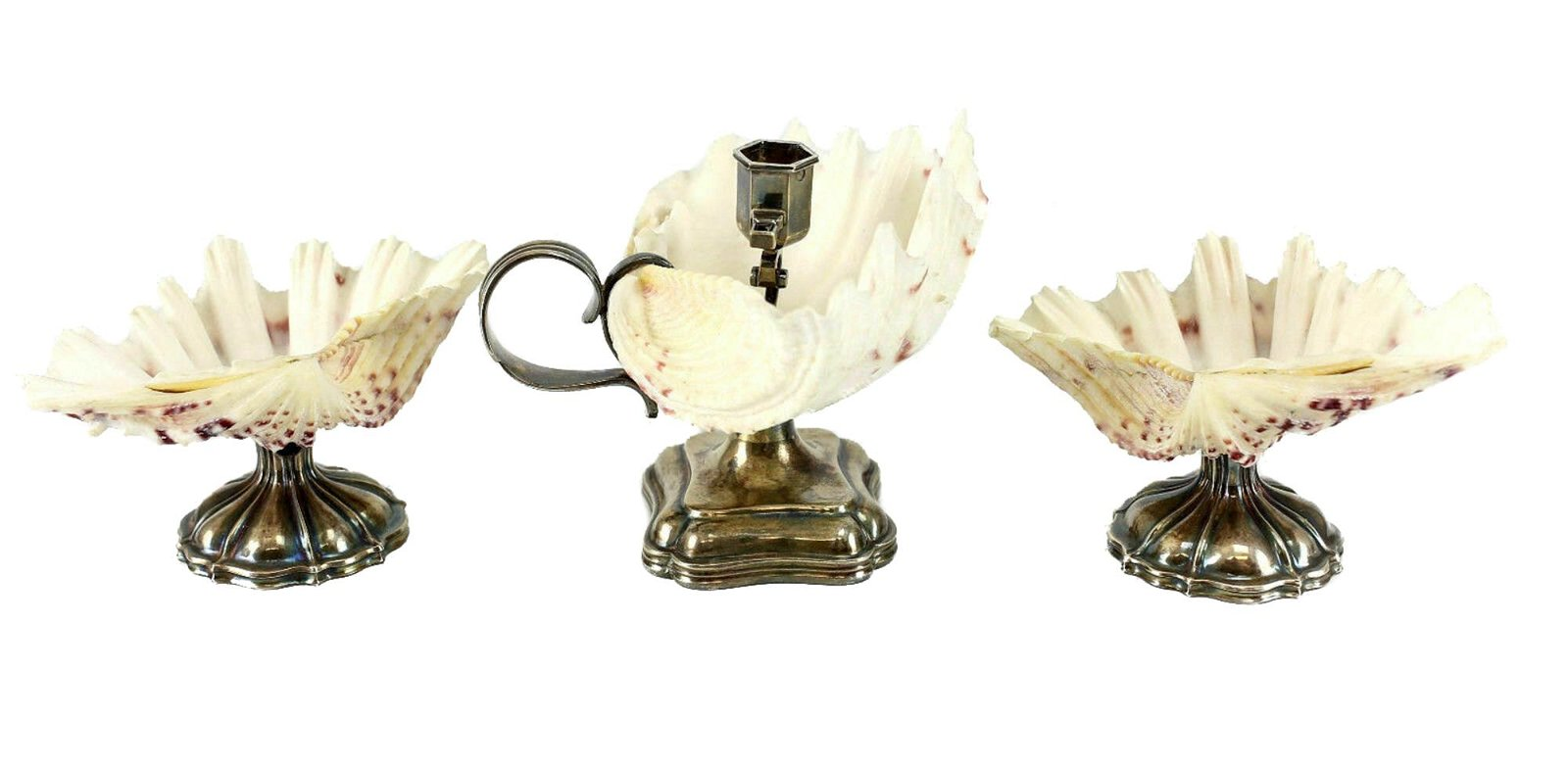 3 Dutch Silver & Shell Candlestick Footed Shell Bowls