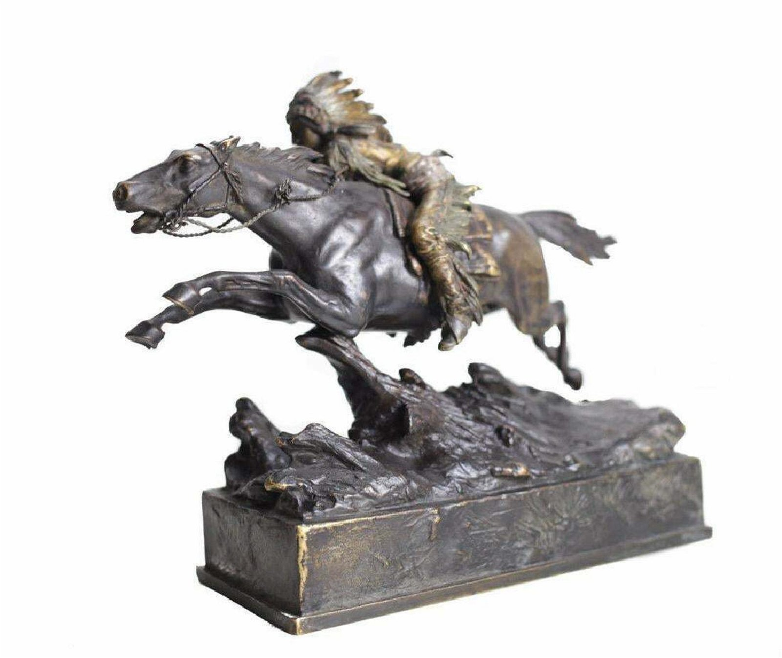 Wall-Mount Indian Horse with Feather Bronze Effect Sculpture Statue Figurine NR