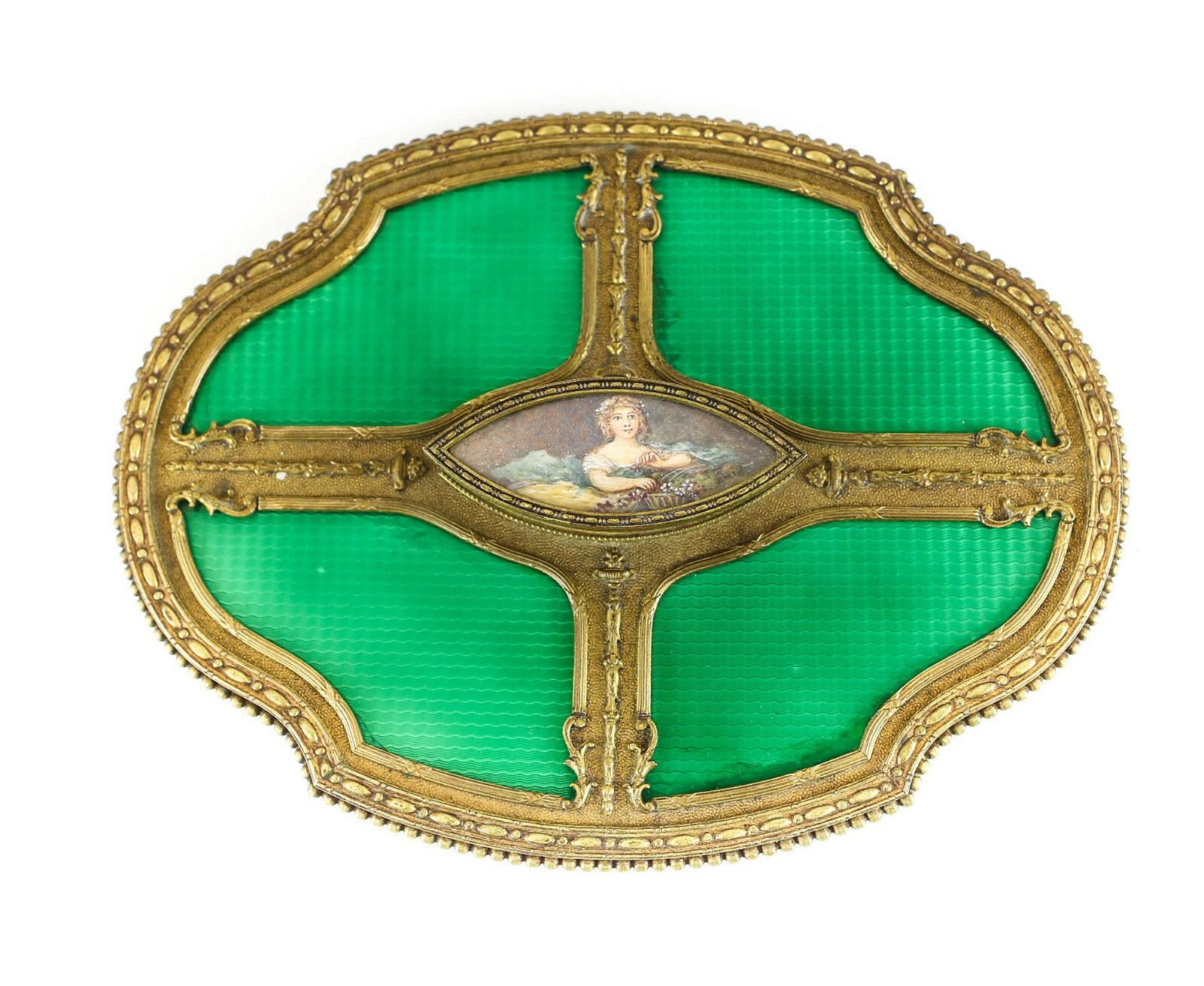 Continental Green Enamel Hand Mirror, c1900