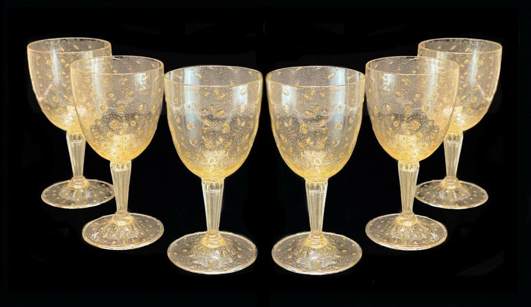 6 Venetian Gold Fleck Bubble Water Glasses, circa 1950